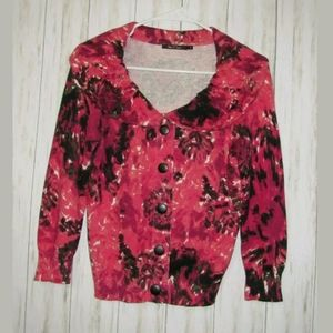 S Nic + Zoe Floral Pink Cardigan Sweater